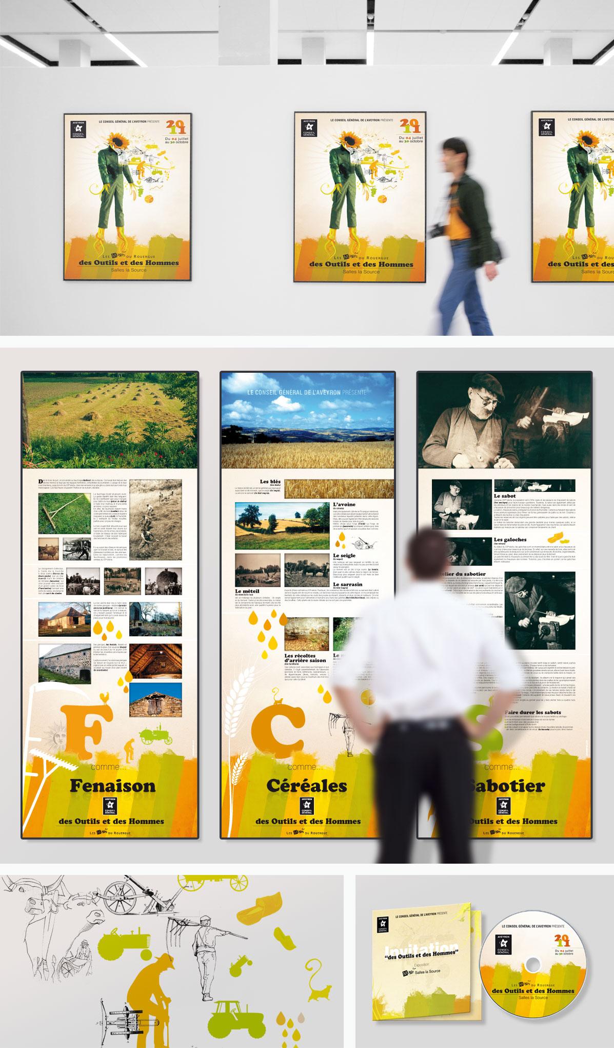 Creation graphique Affiche Communication Musée Conseil Général Aveyron
